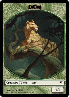 Green Cat Warrior Token With Forestwalk