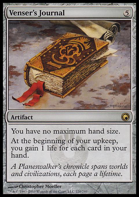 venser's journal  artifact  cards  mtg salvation